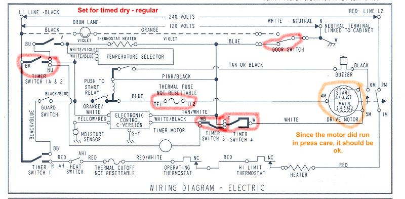 Whirlpool Electric Dryer Wiring Diagram from www.electriciantalk.com
