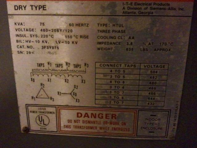 Reverse Wire Transfrmer 480v Delta To 120  208 Wye - Electrician Talk