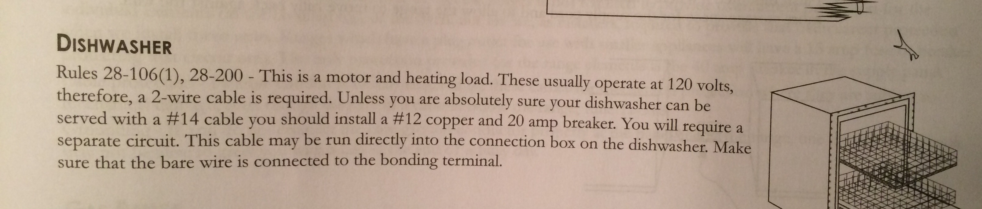 canadian code for installing a dishwasher in a residential home