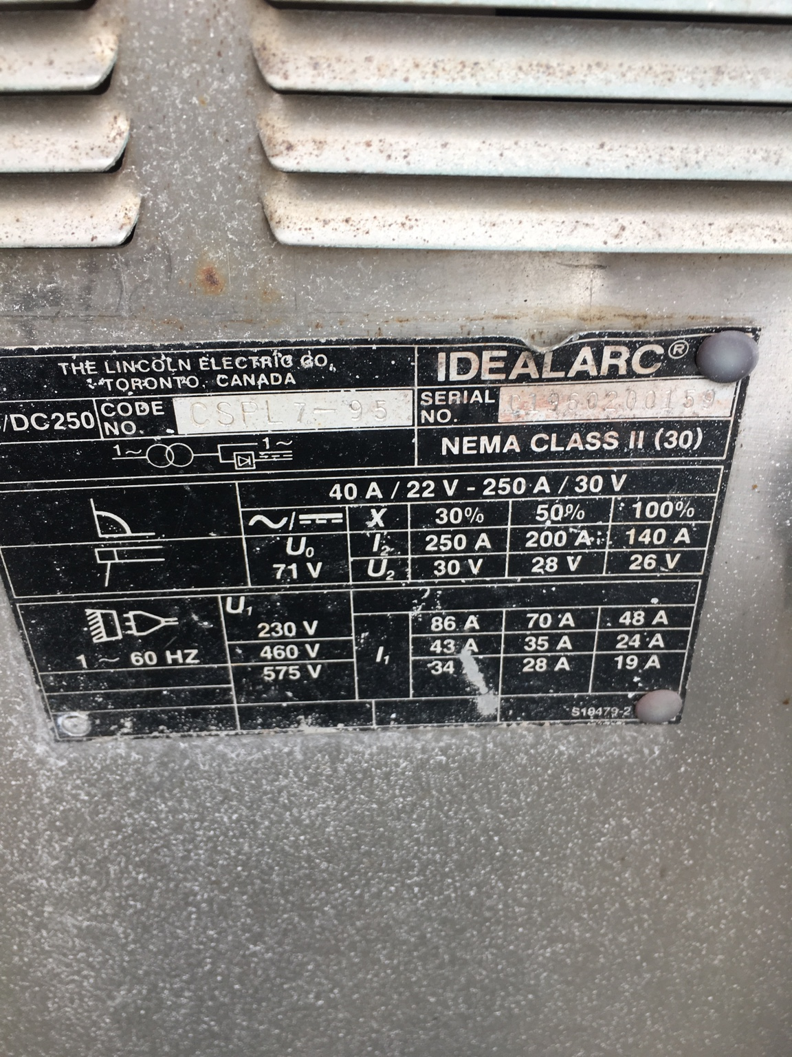 Transformer Arc Welding Machine Nameplate Electrician