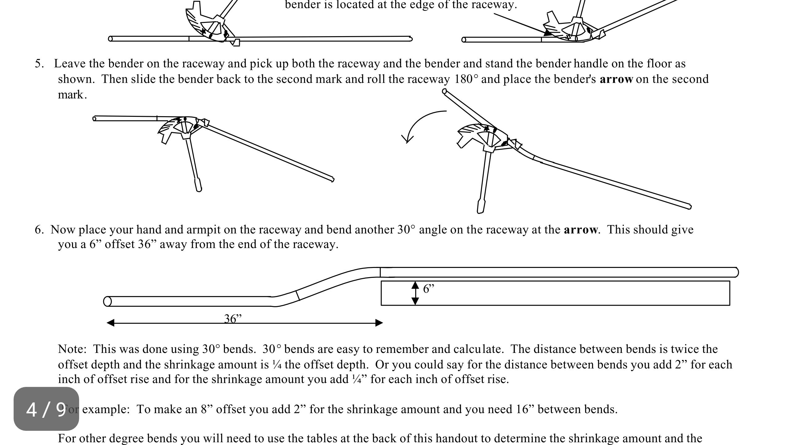 Emt Bending Cheat Sheet Wiring Diagram Offset Electrician Talk Professional Electrical